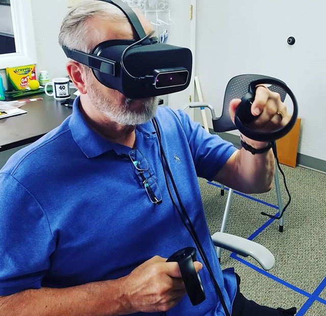 adult doing vivid vision vision therapy