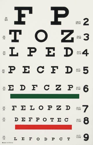 This is a typical Snellen visual acuity chart as used in optometry clinics everywhere.