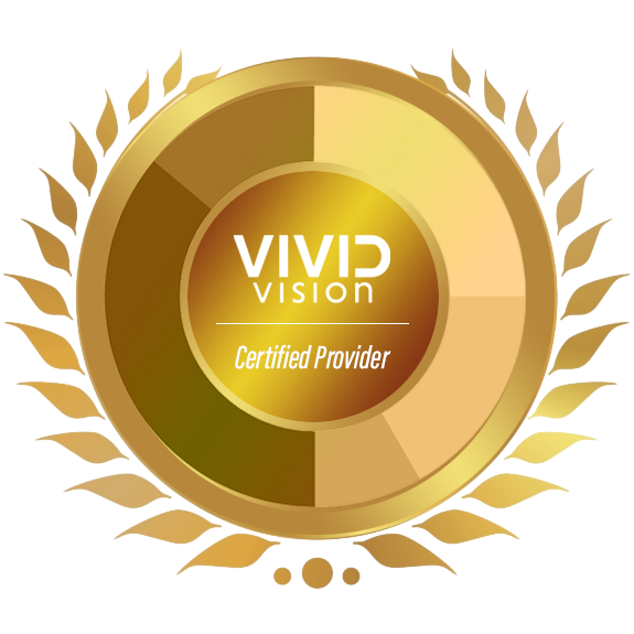 This seal is given to Vivid Vision clinical providers who have undergone certification by Vivid Vision staff.