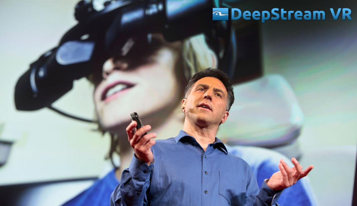 Howard Rose presenting about Deepstream VR, a company he founded.