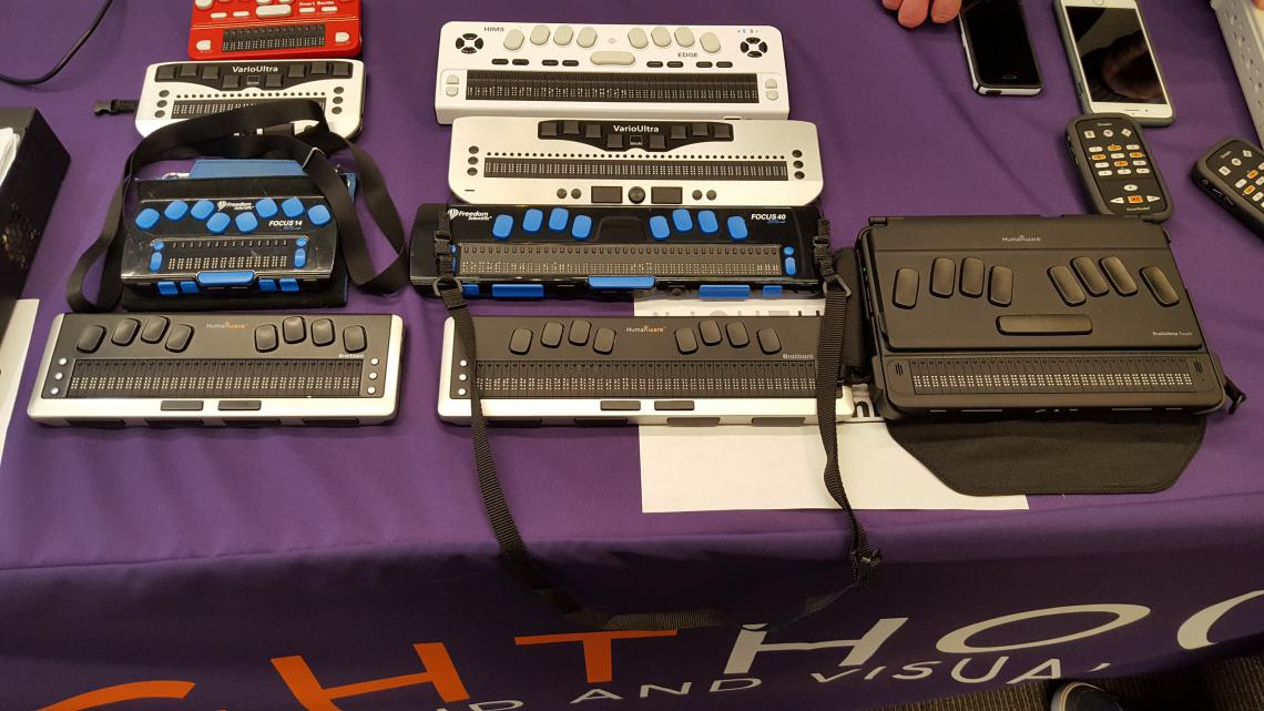 Table of various Braile display devices from Focus40 and VarioUltra As well as an audio book reader from Stream.