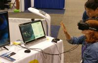 Dr. Tran Demoing at AOA - vr vision therapy high resolution vision therapy tool vision care tool vision therapy device amblyopia strabismus vision treatment vivid vision seevividly vision care device
