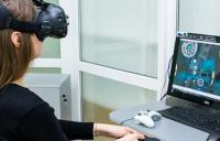 Patient at the Podillya Vision Center - vivid vision clinical virtual reality vision therapy